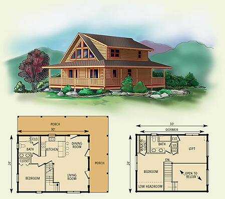 Nantahala log home floor plan Nantahala house plan