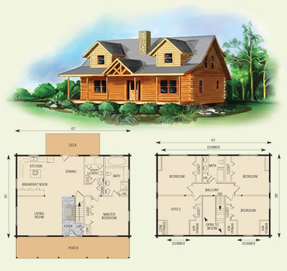 northridge I log home and log cabin floor plan