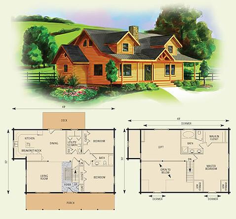 northridge II log home and log cabin floor plan