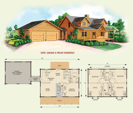 northridge III log home and log cabin floor plan