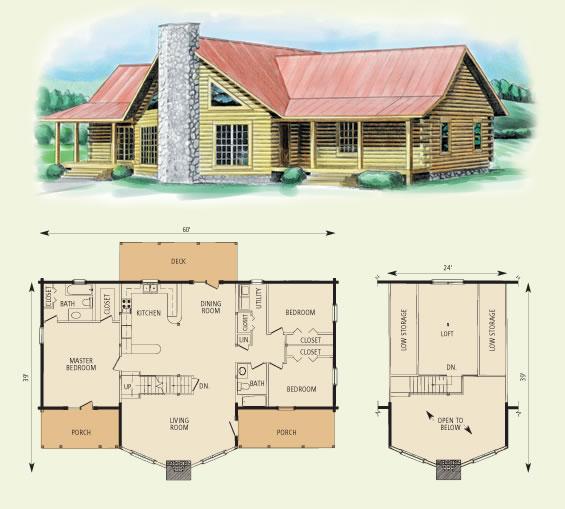 piedmont II log home and log cabin floor plan