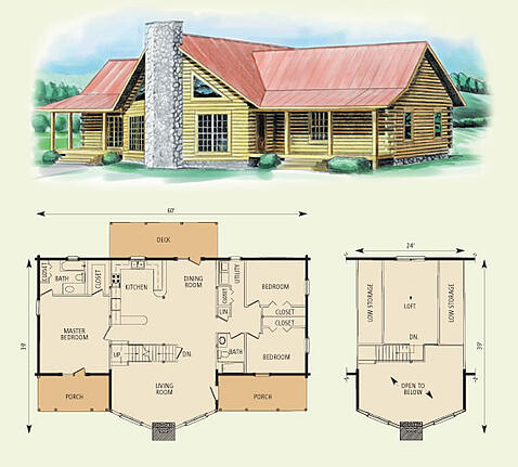 piedmont II log home and log cabin floor plan