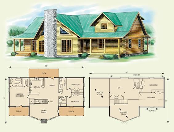 piedmont log home and log cabin floor plan