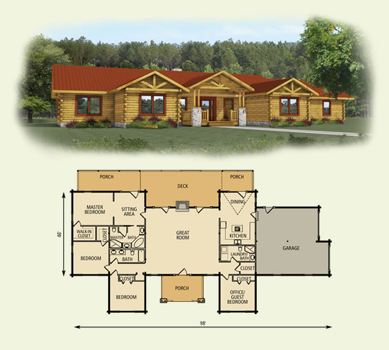 pine ridge log home and log cabin floor plan