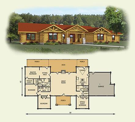pine ridge log home and log cabin floor plan