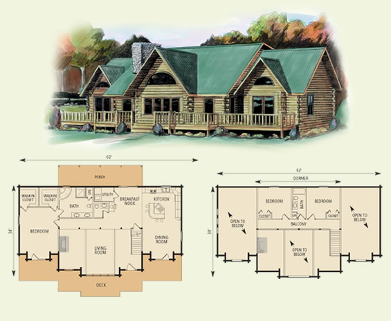richmond log home and log cabin floor plan