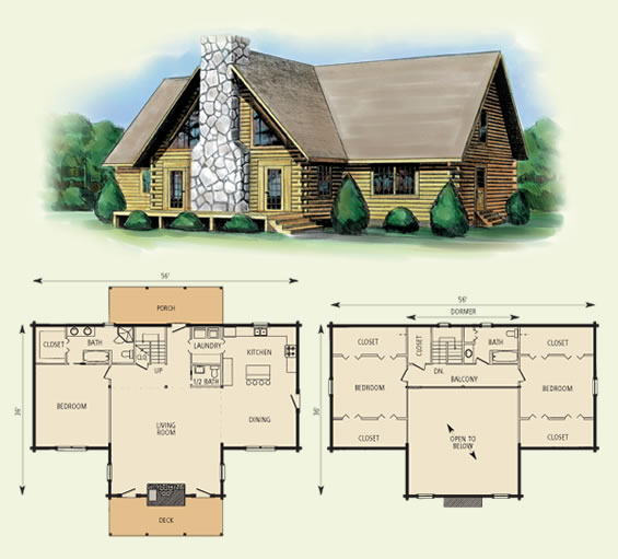 richwood log home and log cabin floor plan