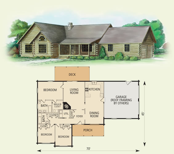 somerset log home and log cabin floor plan