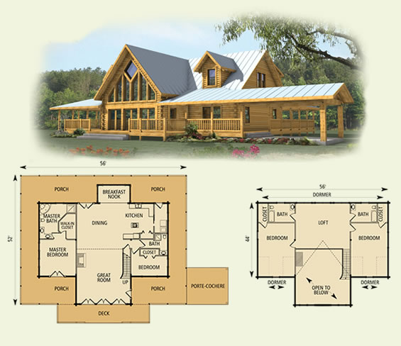 spring hope log home and log cabin floor plan