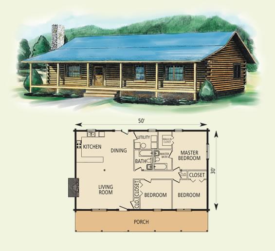 springfield log home and log cabin floor plan