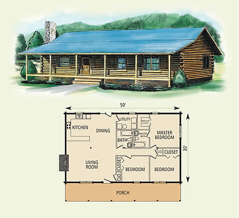springfield log home and log cabin floor plan
