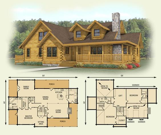 Spruce Valley Log Home Floor Plan