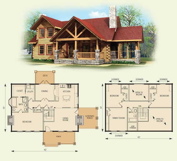 stoneridge log home and log cabin floor plan