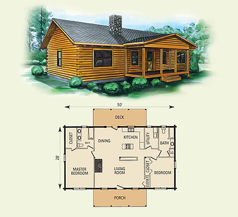 taylor log home and log cabin floor plan