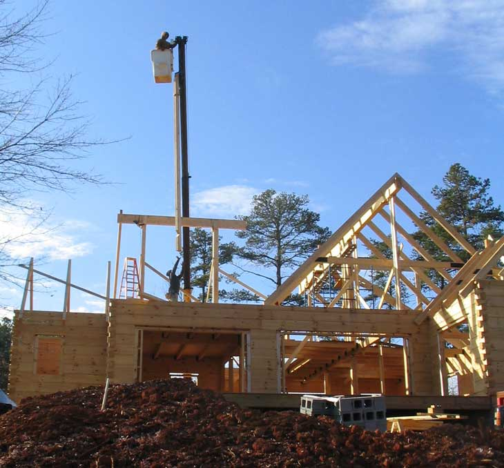 log home timber roof installation