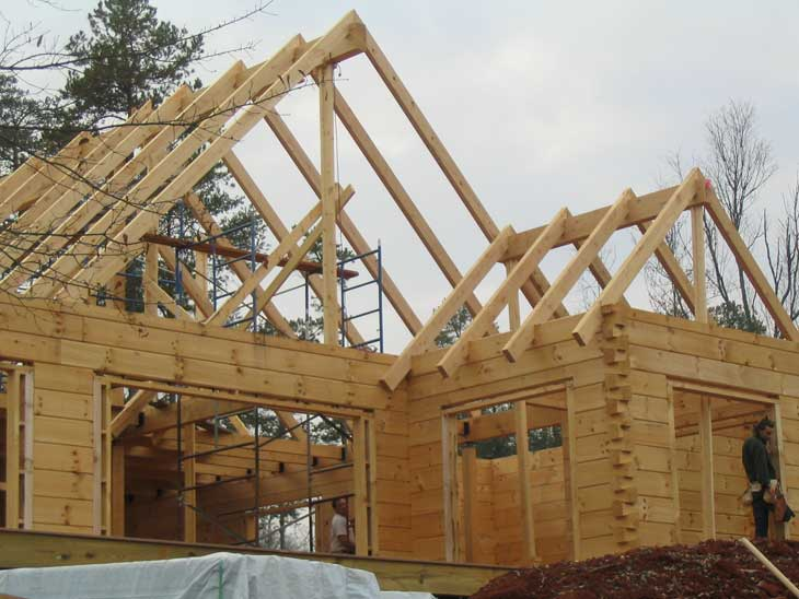 log home timber roof construction