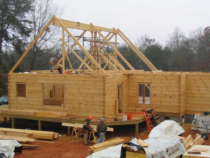 log house under construction