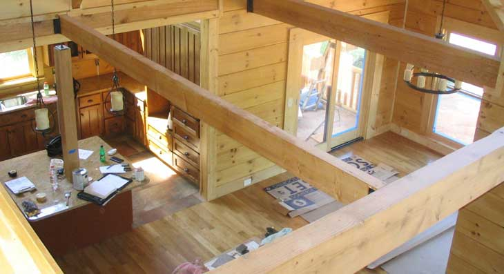 log home view from loft