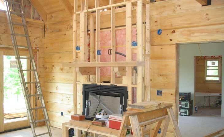 log homes fireplace
