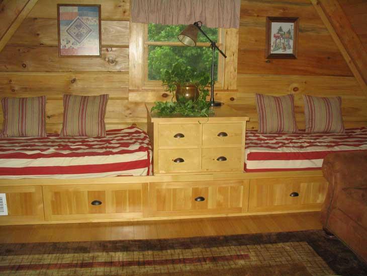 log home loft area