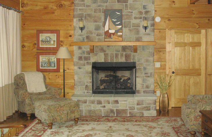 log home fireplace