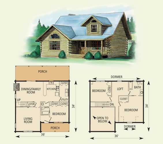 tucker log home and log cabin floor plan