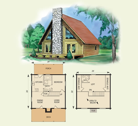 valleyview log home and log cabin floor plan