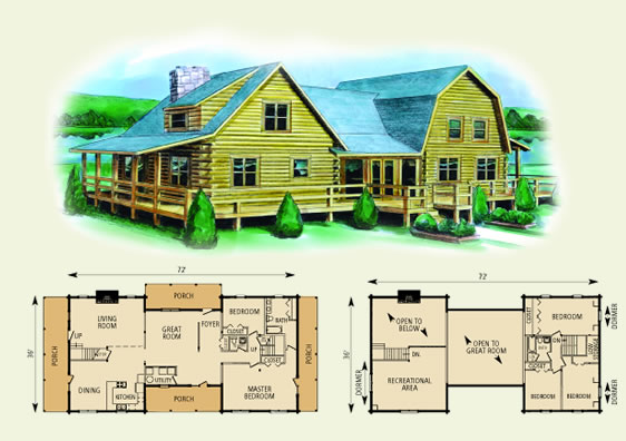 washington log home and log cabin floor plan
