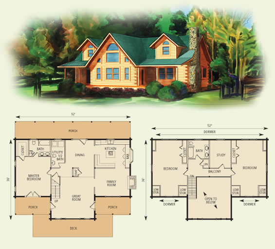 waters edge log home and log cabin floor plan
