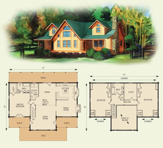 waters edge log home and log cabin floor plan