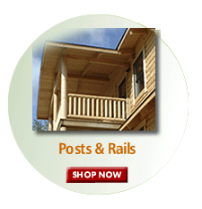 Log cabin railing for porches and decks