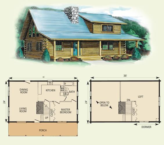 wildwood II log home and log cabin floor plan