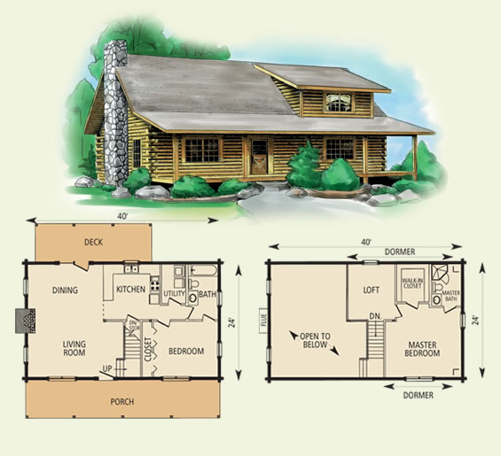 wildwood log home and log cabin floor plan