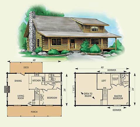wildwood log home and log cabin floor plan