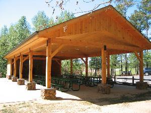 log cabin picnic shelter