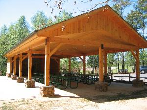 log cabin picnic shelter