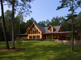 Springhope log home plan with basement