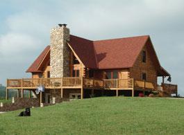 Fair Oaks log home plan with firelplace