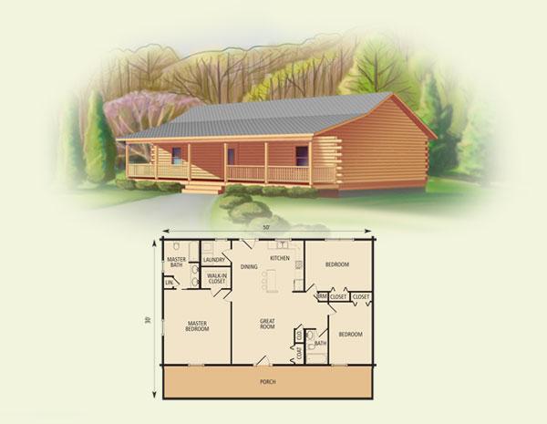 springfield II log home and log cabin floor plan